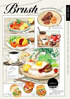 Of fire and waves Cute Food, Yummy Food, Food Sketch, Food Cartoon, Watercolor Food, Food Painting, Food Drawing, My Best Recipe, Food Illustrations