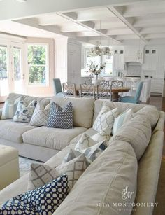 Style {Happy Independence Day Coastal Style Living Room - Sita Montgomery - Click through for more beautiful coastal rooms!Coastal Style Living Room - Sita Montgomery - Click through for more beautiful coastal rooms! Living Room Pillows, Coastal Living Rooms, My Living Room, Home And Living, Living Spaces, Coastal Cottage, Simple Living, Coastal Homes, Coastal Farmhouse