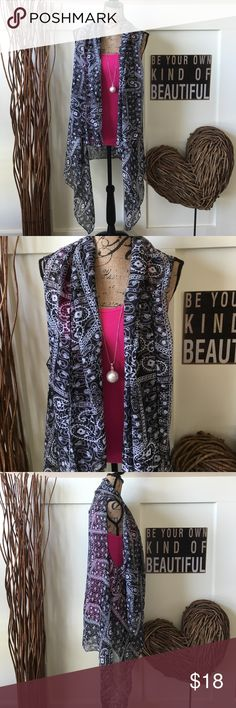 Paisley print scarf best This pretty black-and-white paisley print scarf can be worn as a vest or a next scarf.  2 looks in 1. just be Accessories Scarves & Wraps