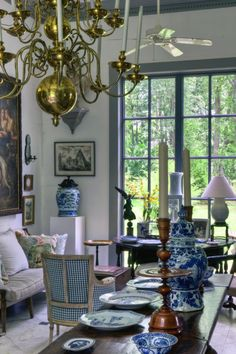 Sweet Southern Abode-blue & white in this Furlow Gatewood room in Ga.