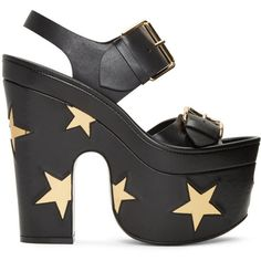 Stella McCartney Black Platform Buckles Stars Sandals ($1,185) ❤ liked on Polyvore featuring shoes, sandals, black, star shoes, platform sandals, kohl shoes, buckle shoes and black buckle shoes