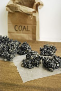 Lumps of Coal (Oreo Rice Krispies Treats). Did you ever get coal in your stocking? Hehe.