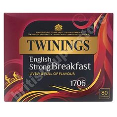 Gail's Favorite Tea: Twinings 1706 Strong Breakfast , Strong & Traditional Uk, 80 Tea Bags