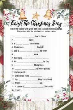 Popular Christmas Songs, Christmas Games For Family, Printable Christmas Games, Christmas Bingo, Christmas Party Games, Christmas Movie Characters, Christmas Movies, Unisex Baby Names, Baby Shower Fall