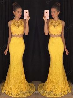 2016 Custom Charming Yellow Lace Two Pieces Long Prom Dress,Sexy Sleeveless Evening Dress,Sexy See Through Prom Dress