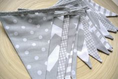5m long shabby fabric garland banner bunting in gray and by Kadaro