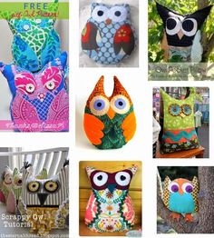 Free Pattern Day : Owls (pillows and stuffed owls):  Quilt Inspiration