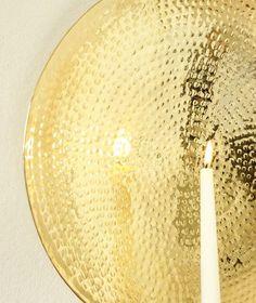 Beautiful wall lamp, handmade in hammered brass. Beautiful Wall, Lanterns, Wall Lights, Brass, Candles, Instagram Posts, Porn, Handmade, House