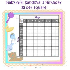 Fun Baby Pool Template Guess The Gender Birth Date Birth Time