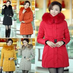 Discount Korean Fashion winter fur hooded long thick outerwear Down coats in women down parkas on sightface.com