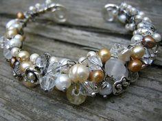 Cream and Crystal Cuff Bracelet - Diana Frey Pearl Jewelry, Stone Jewelry, Wire Jewelry, Jewelry Crafts, Jewelry Bracelets, Jewelery, Vintage Jewelry, Handmade Jewelry, Jewelry Ideas