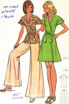 Vintage 70s Butterick 3157 Misses UNCUT Wrap Tunic by RomasMaison