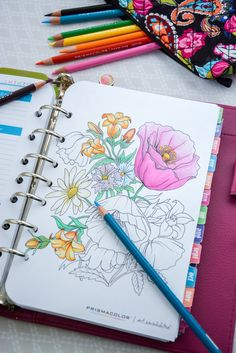 Such a FUN idea!  Add coloring pages to planner for relaxing on the go. Perfect for when you are waiting at Dr offices or on public transportation.  Get free adult coloring pages at Michaels Find @pinprismacolor  pencils and markers at @michaelsstores #relaxandcolor AD