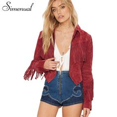 91529c2cbac Simenual Fringe suede women basic coats jackets 2017 spring new long sleeve  slim female jacket cardigan outwear coat tassel sale-in Basic Jackets from  ...