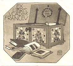 bookiplate for Vladim Francev .. depicts open books on floor and folk art painted trunk open lid revealing books, unusual irregular octagon lozenge shape