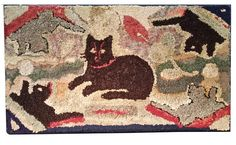 A382 19th century Cats Hooked Rug; Circa 1890; Pennsylvania, a wonerful Hooked Rug showing a Mother Cat with kittens, great color professionally c;eaned and mounted on frame