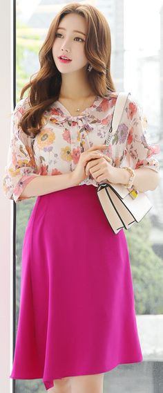 StyleOnme_Asymmetrical Hem A-Line Skirt #fushia #spring #summer #skirt #koreanfashion #elegant #feminine #kfashion #kstyle #seoul