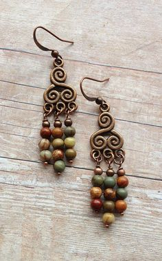 Earthy, Rustic, Natural Red Creek Jasper and Copper Dangle Earrings with Spiral Design