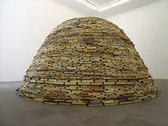 Omphalos (2004) by Matej Krén (http://www.matejkren.cz). [ #books #dome #installation #sculpture ]