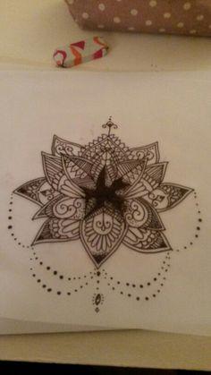 Nautical star cover up lotus mandala