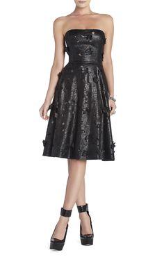 BCBG Emeline Strapless Faux-Leather Dress