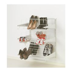 IKEA - ALGOT, Wall upright/shoe organizer, The parts in the ALGOT series can be combined in many different ways and easily adapted to your needs and space. Ikea Algot, Ikea Pax, Shoe Organizer Ikea, Shoe Organiser, Smart Storage, Closet Storage, Closet Organization, Storage Hacks, Diy Storage