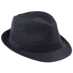 af7ffe31992475 Men Women's Gentleman Straw Trilby Fedora Caps Panama Hat with Band - Black  - C611MOCZ25H