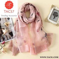 Luxury embroidery floral silk scarf