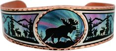 Moose bracelet is handmade from copper in colorful Alaska northern lights scene. Discover large selections of Alaska jewelry including colorful moose bracelets. Unique Bracelets, Handmade Bracelets, Silver Bracelets, Unique Jewelry, Copper Bracelet, Copper Jewelry, Alaska Northern Lights, Colorful Animals, Handmade Jewelry Designs
