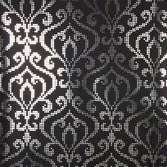 Venus Charcoal Foil Mini Damask Shimmering silver foil on a charcoal black backdrop is a posh and gorgeous look for décor. This Modern Moroccan inspired wallpaper design has a modern, pixelated mosaic damask design and a dramatic palette. Sparkle Wallpaper, Damask Wallpaper, Embossed Wallpaper, Geometric Wallpaper, Wallpaper Samples, Wallpaper Roll, Wall Wallpaper, Designer Wallpaper, Washable Wallpaper