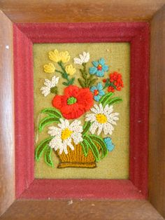 Set of framed vintage crewel / handmade by verylovelylife on Etsy