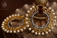 filligree gold and pearl balis - earrings - indian jewellery - loved & pinned by www.omved.com