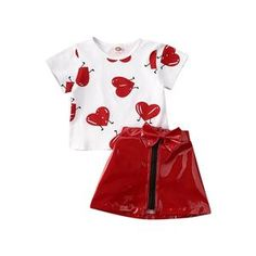 Valentine'S Days Kid Baby Girl Clothes Sets Love Print T Shirts Top Leather Skirt Summer Outfit Valentinstags Outfits, Spring Outfits, Spring Clothes, Summer Clothing, Valentine's Day Outfit, Outfit Sets, Summer Outfit, Valentines Outfits, Girl Sleeves