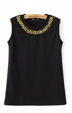 Diamond Neckline Sleeveless Cotton T-shirt