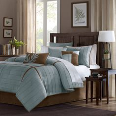 This micro suede comforter set will add luxurious comfort to your bedroom. The soft polyester fabric feels unbelievably soft to the hand. The seven-piece set includes one comforter, bed skirt, two pillow shams, and three decorative throw pillows.