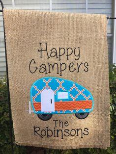 Happy Camper Burlap Garden Flag by SimplySewCustom on Etsy