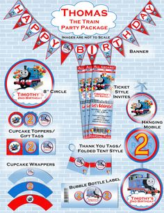 Thomas the Train Inspired Birthday Party Package - Printable And Customized with your party details. Invitation Included.. $20.00, via Etsy.