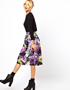 WISH LIST! I want this skirt so bad, but I don't see it in my size. ASOS Midi Skirt in Statement Floral Print