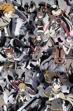 Digimon Adventure - The Eight DigiDestined with their Digimon: Matt (Yamato) with Metalgarurumon, Sora with Garudamon, Kari (Hikari) with Angewomon, Izzy (Koushiro) with Megakabuterimon, Mimi with Lillymon, Joe with Zudomon, T.K. (Takeru) with MagnaAngemon (HolyAngemon) and Tai (Taichi) with Wargreymon
