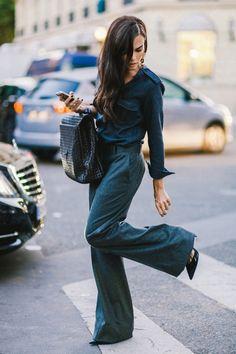 Evangelie Smyrniotaki wearing Celine pants, Jimmy Choo shoes and Bottega Veneta bag after the Maison Margiela Spring 2015 fashion show in Paris, France