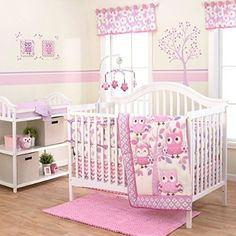 Liven up your little one& nursery with the sweet Belle Dancing Owl Crib Bedding Set. Adorned with a traditional owl theme and unique contemporary prints, the pretty in pink crib bedding is perfect for your new princess.