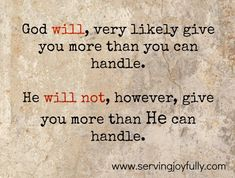 """""""Too Much To Bear"""" - When God gives you more than you can handle"""