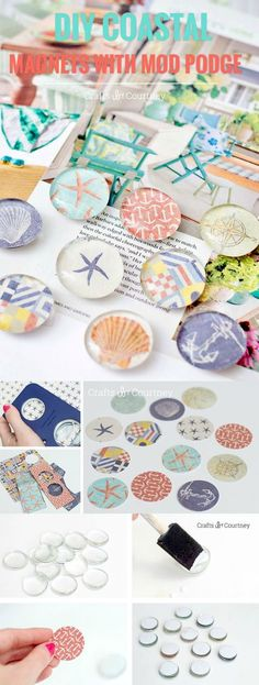 These DIY magnets are SO easy to make with decoupage medium, Dollar Tree glass marbles, and scrapbook paper! They make great gifts. Use your favorite photos and add to the fridge. Fun for kids!