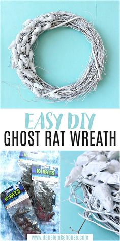 DIY Rat Wreath for Halloween! Looking for cute DIY halloween wreaths for front door? Or DIY Halloween wreath dollar stores ideas? Find the supplies for this easy DIY ghost rat wreath at the dollar store. Check out the blog for the DIY Halloween wreath tutorial - this easy DIY Halloween wreath is fun to make! Find more DIY Halloween crafts and easy DIY Halloween decorations. Modern Halloween, Easy Halloween, Halloween Crafts, Fall Crafts, Decor Crafts, Diy Home Decor, Halloween Wreaths, Diy Halloween Decorations, Wreath Ideas