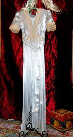 9e1bca0d392 ...  accessories  vintage  womensvintageclothing (ebay link). See more.  30 s Peignoir Set Blue Satin Lace Wedding Lingerie Size M  fashion  clothing   shoes