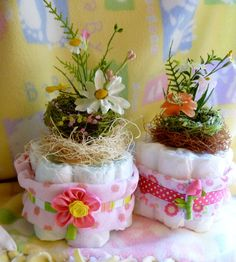 Bird Nest Diaper Cake...A Little Birdie Told Me It's A Girl..Mommy's Nest..Baby Shower...Over 11 Items..Hair Bow...ON SALE :)