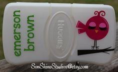 Personalized Diaper Wipe Case - Birdie Design via Etsy