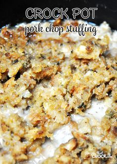 This Crock Pot Pork Chop Stuffing recipe can be thrown together in less than 5 minutes and is ready in just a few hours!