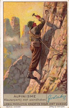 Vintage Skiing Trading Card © Vintage Winter This poster was originally a collectible trading card by Liebig. Liebig was founded in 1865 and started printing l Photo Vintage, Vintage Ski, Vintage Winter, Vintage Travel Posters, Alpine Climbing, Rock Climbing, Mountain Climbing, Mountain Biking, Cute Hiking Outfit