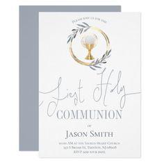 catholic first communion dusty blue and faux gold invitation   Zazzle.com